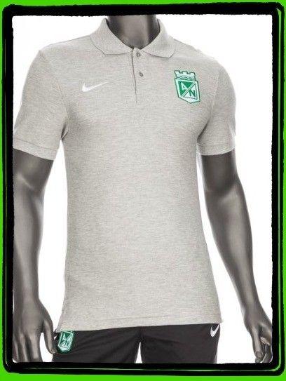 Camiseta Nike Polo Presentación Gris Claro Atlético Nacional 2015 ... dfccd2bf258