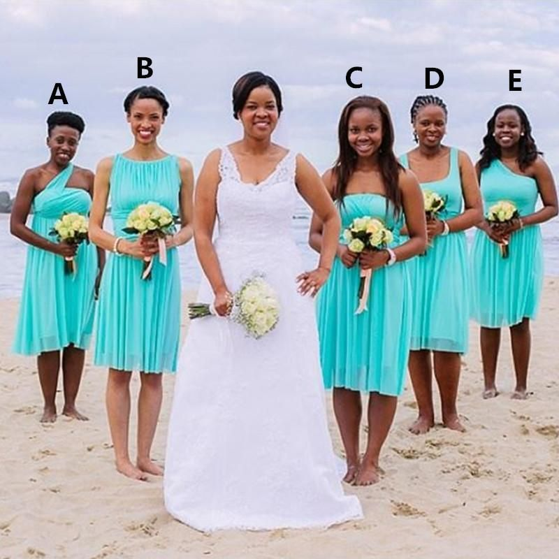 Short Bridesmaid Dresses Turquoise Blue 2016 Knee Length Ruched Chiffon Wedding Party Gowns Beach Summer South