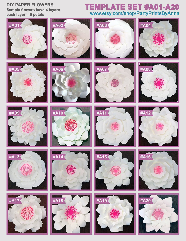 PDF Paper Flower Templates  printable PDF templates  Etsy