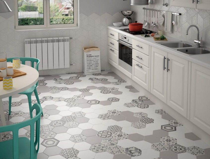 Carrelage cuisine hexagonal for Carrelage blanc hexagonal
