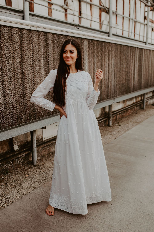The White Ava White Long Sleeve Dress Temple Dress Dresses For Sale [ 1500 x 1000 Pixel ]