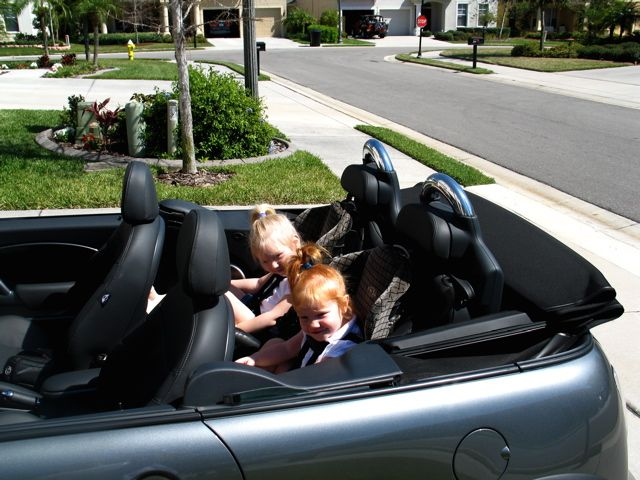 Roof Down With A Baby In The Car Mini, Convertible Car Seat With Wheels
