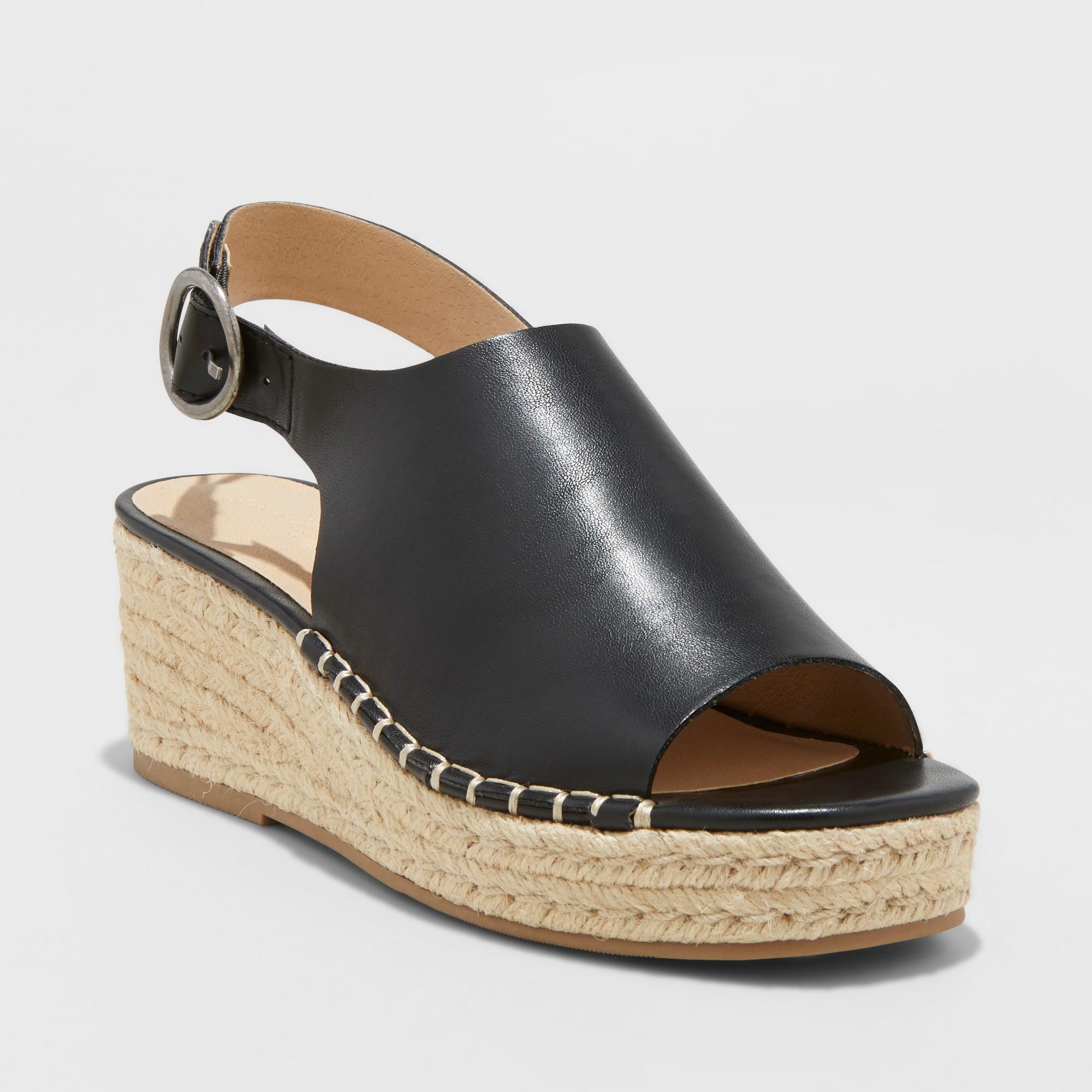 24c630492f1 Women s Ava Shield Espadrille Flatform Sandals - Universal Thread Black 8.5