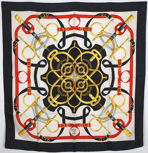 442ea05bb8 Authentic Vintage 1986 Hermes Eperon D Or Silk Scarf 80s Henri D Origny  Design
