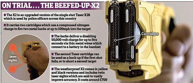 What kind of batteries are in a police taser?