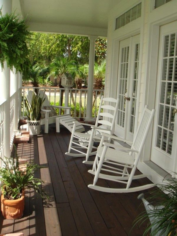 Exterior Exterior House Design Archaic White Stained Rocking Chairs ...