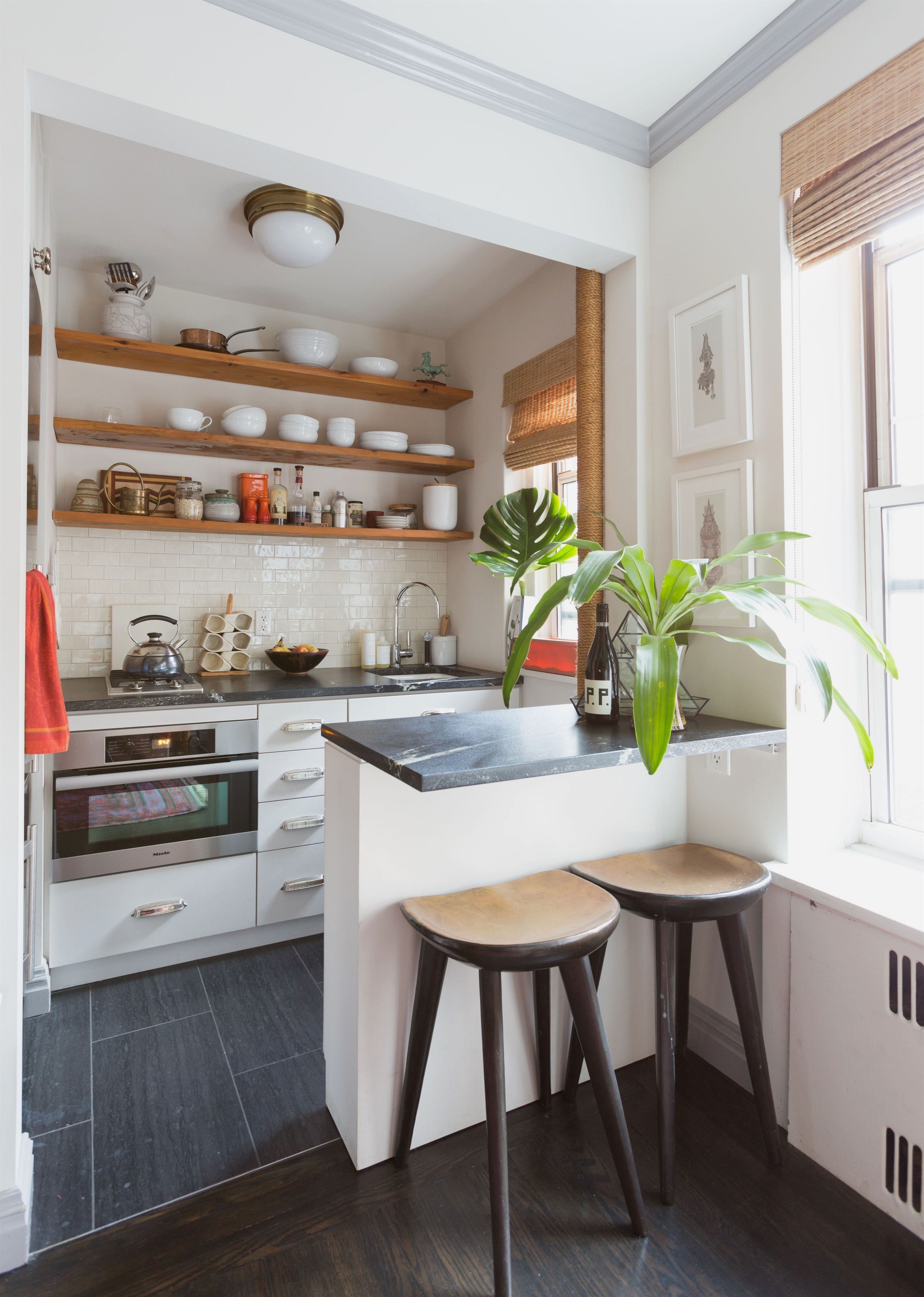 such a tiny kitchen yet the open shelving makes it feel on awesome modern kitchen design ideas id=18908