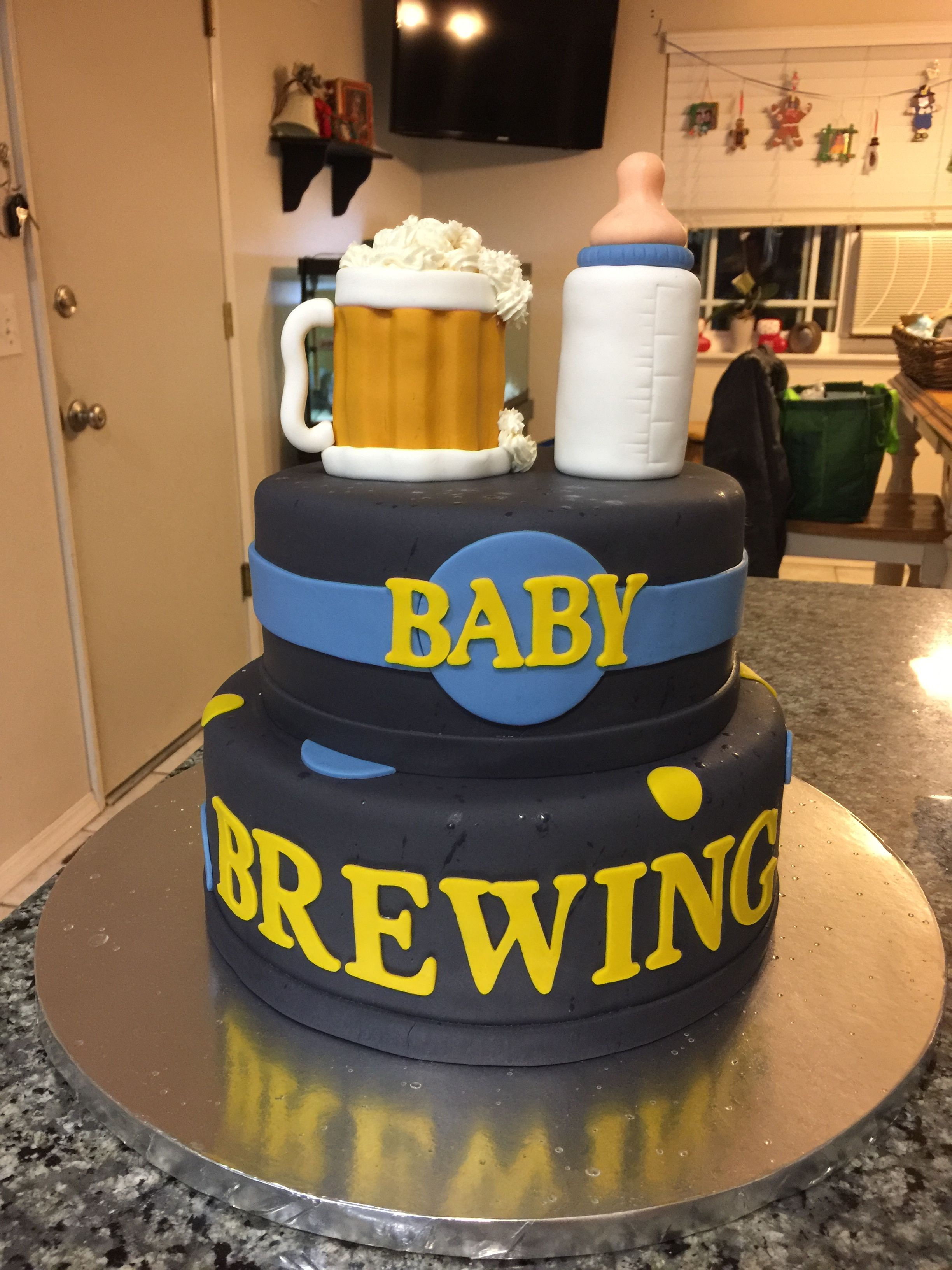 Baby Shower Beer Cake Brewing Up A Boy With Images Beer Baby
