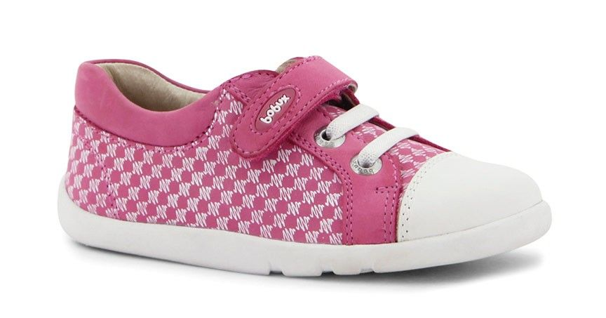 Bobux Empire Trainer in  Fuchsia. A striking print design paired with a fresh white sole and Splashtex toe cap. Full grain leather upper, pink leather lining Flexible white rubber sole.