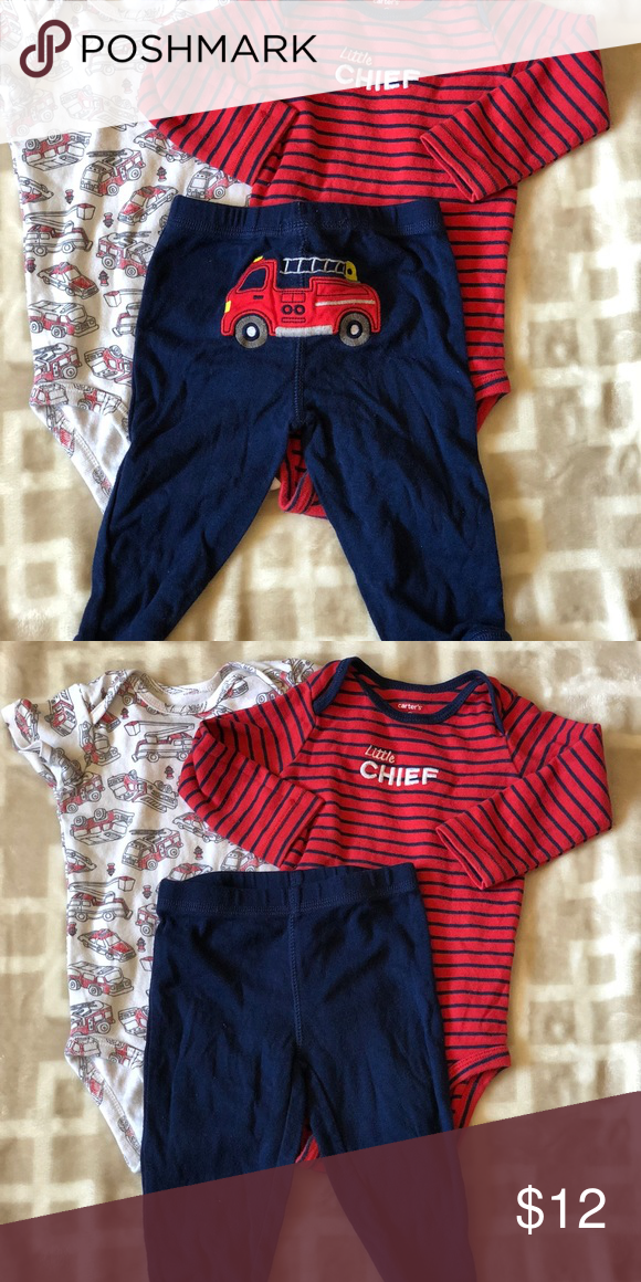 43f27b2809aa Carter s Fire Engine pant set Two bodysuits. One has short sleeve ...
