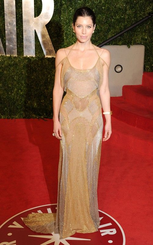 Jessica Biel in Versace Oscars After Party 2011