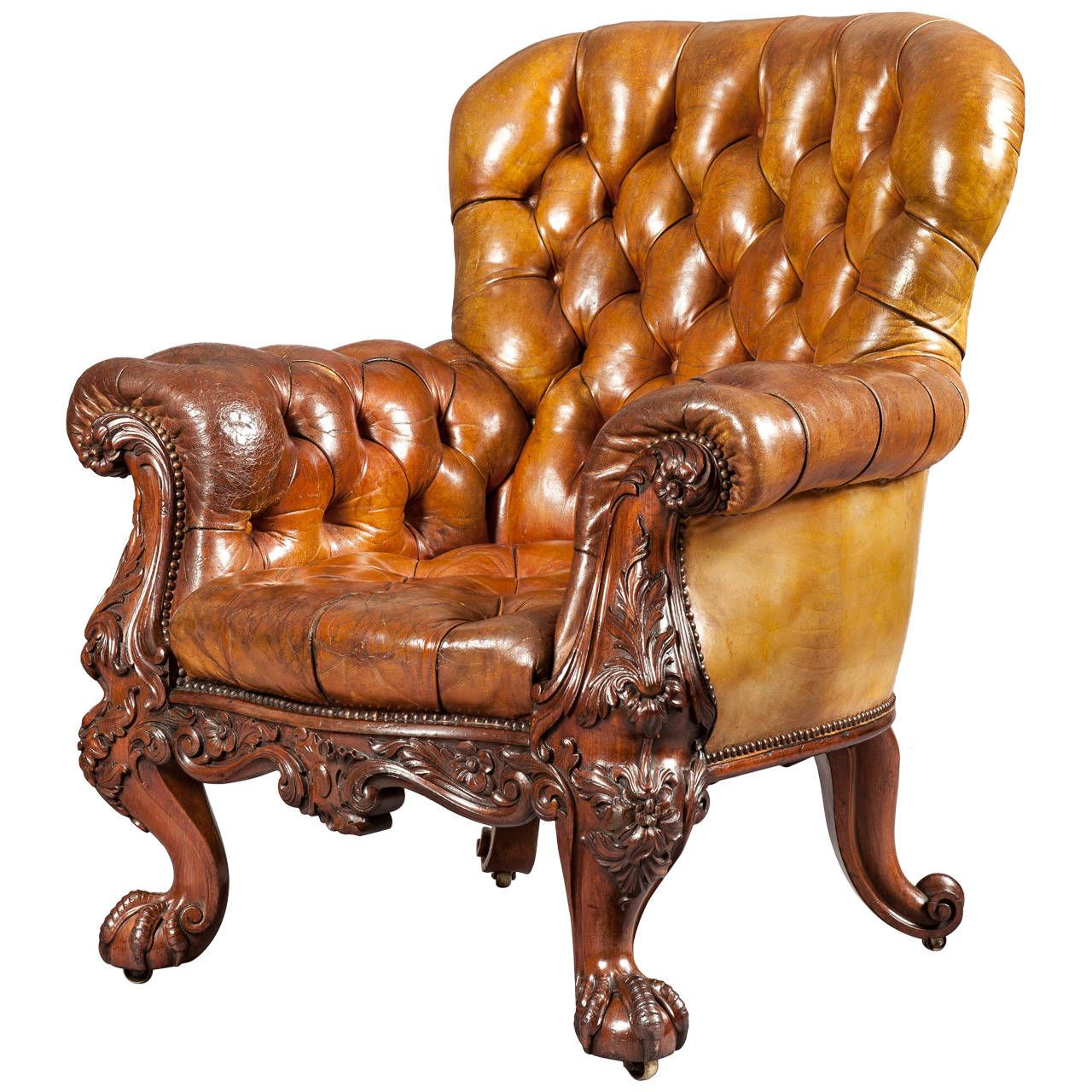 Antique furniture - Gentleman's Leather Library Chair Firmly Attributed To Gillows Of