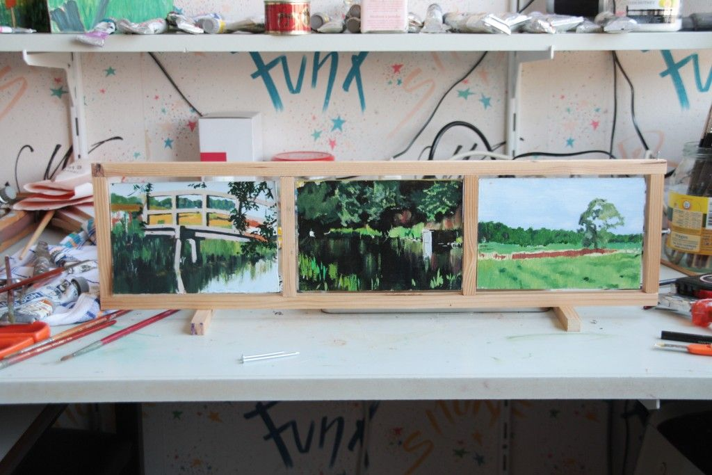 Draaibaar drieluik Westerwolde (voorkant) 10 x 15 olie op paneel