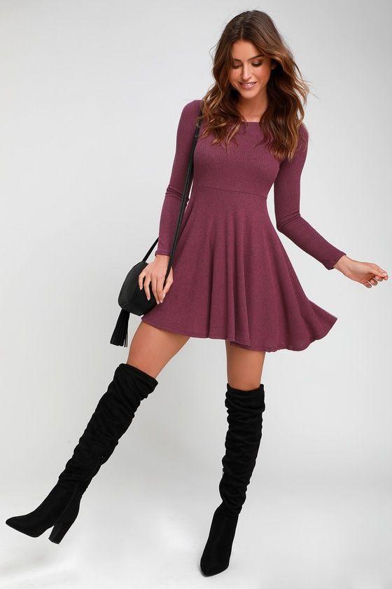 Cute Purple Dress Long Sleeve Skater Dre - Knit Dress