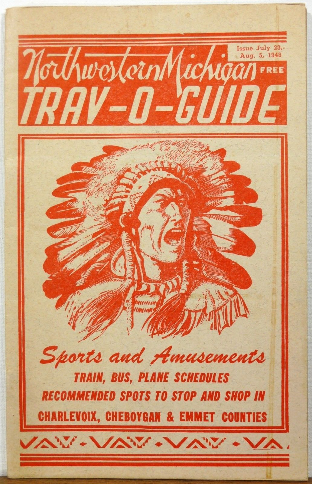 Vintage Michigan, 1948, travel guide with an American Indian on the cover.