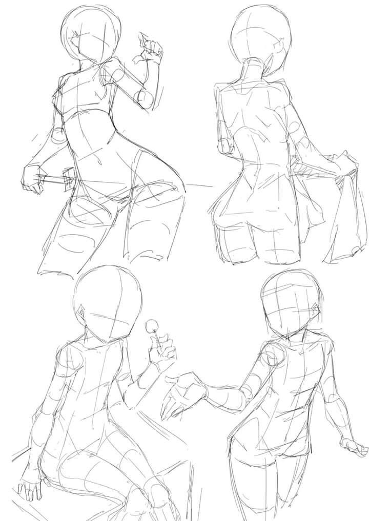 Anime Poses Female : anime, poses, female, Gurllillie, 藝術, Reference, Poses,, Drawing, Poses