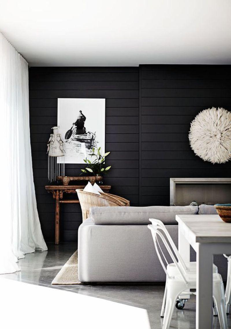 Dark moody black shiplap inspiration dark for Black feature wall living room