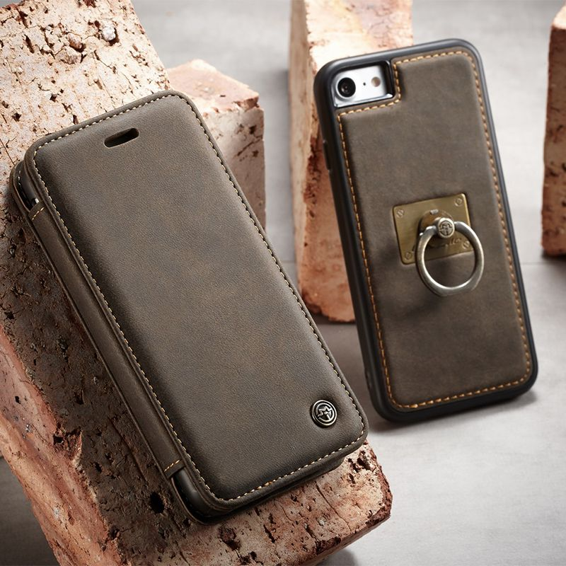 Luxury Leather Case For Apple Iphone 8 7 Metal Finger Ring Holder Silicon Back Cover For Iphone 7 8 Plus Magnet Fli Leather Case Iphone Cover Wallet Phone Case