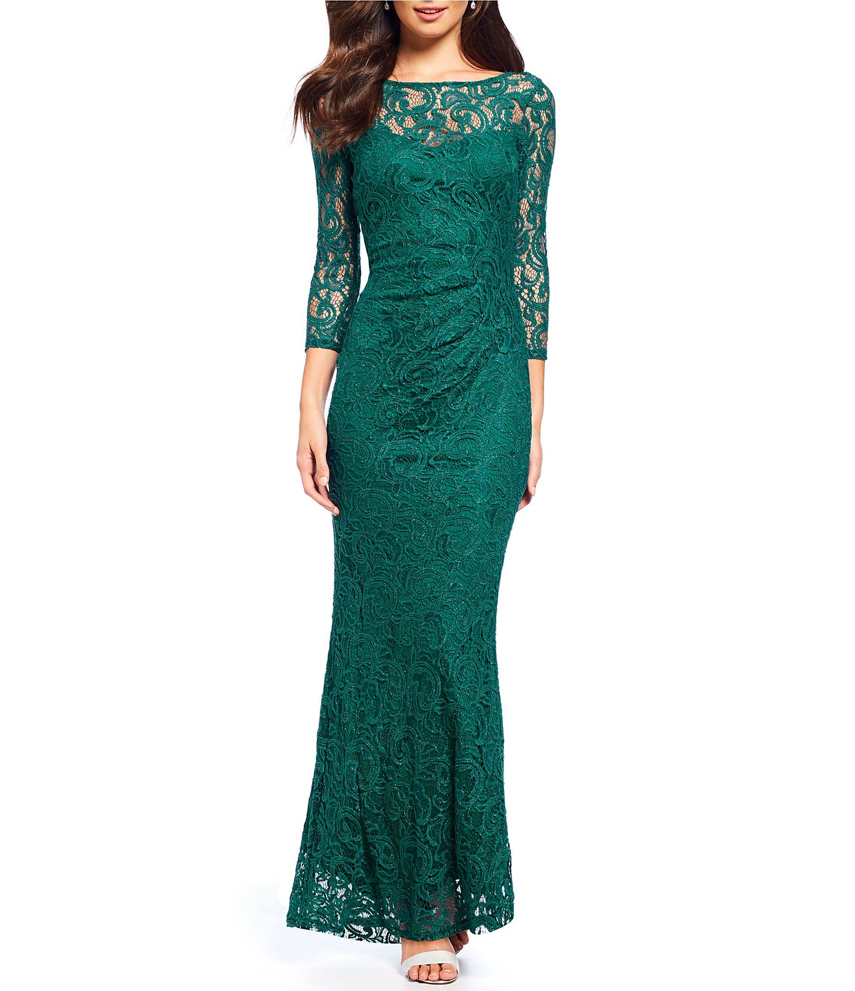 Shop for Marina Foiled Lace V-Back Gown at Dillards.com. Visit ...