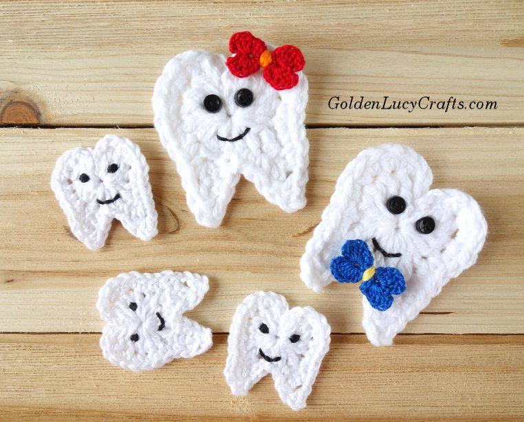 Crochet Tooth Applique | aliques crochet | Pinterest