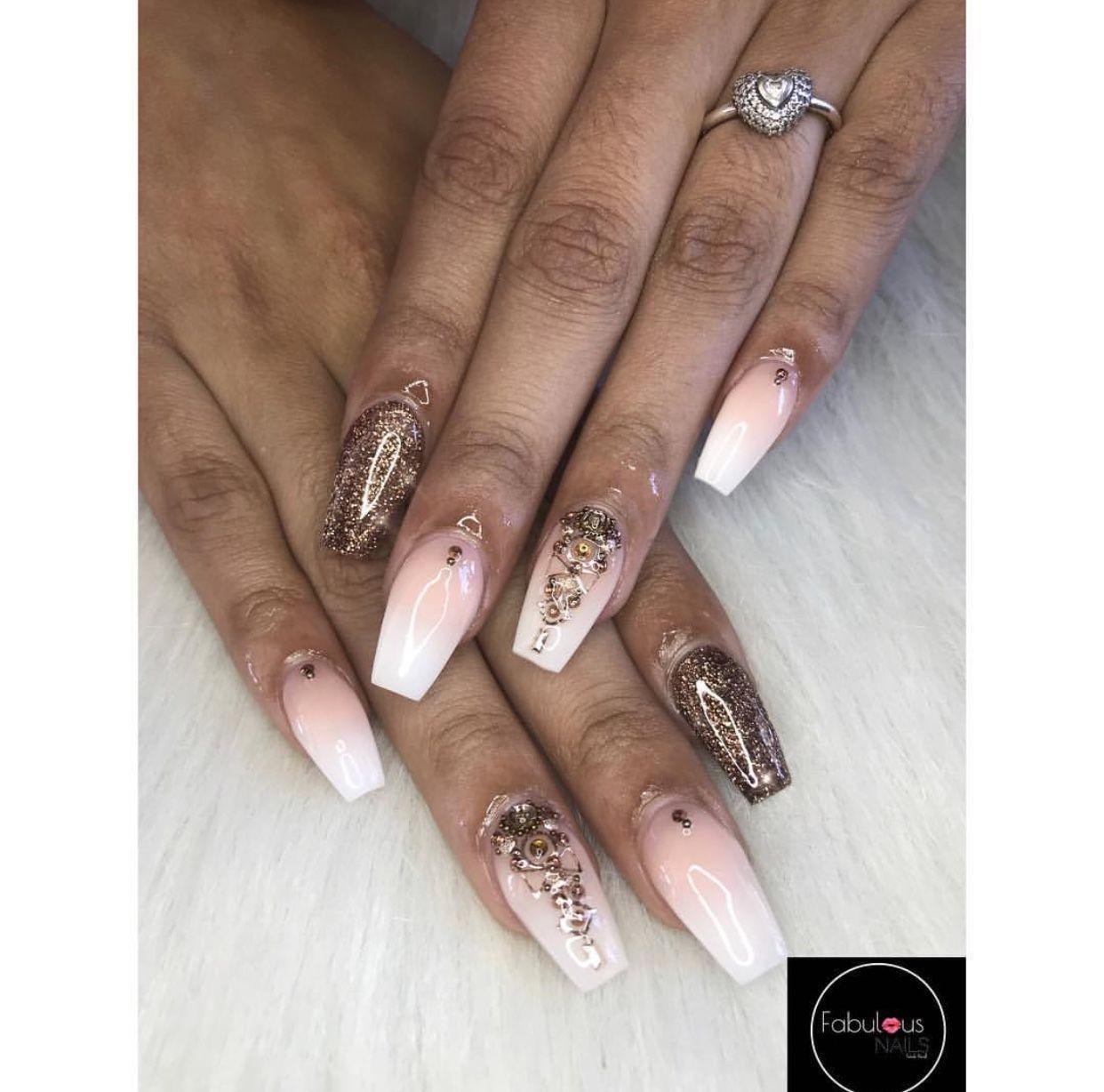 Brown White Pink Nails | Coffin Acrylic Nails | Diamond Nail Design ...