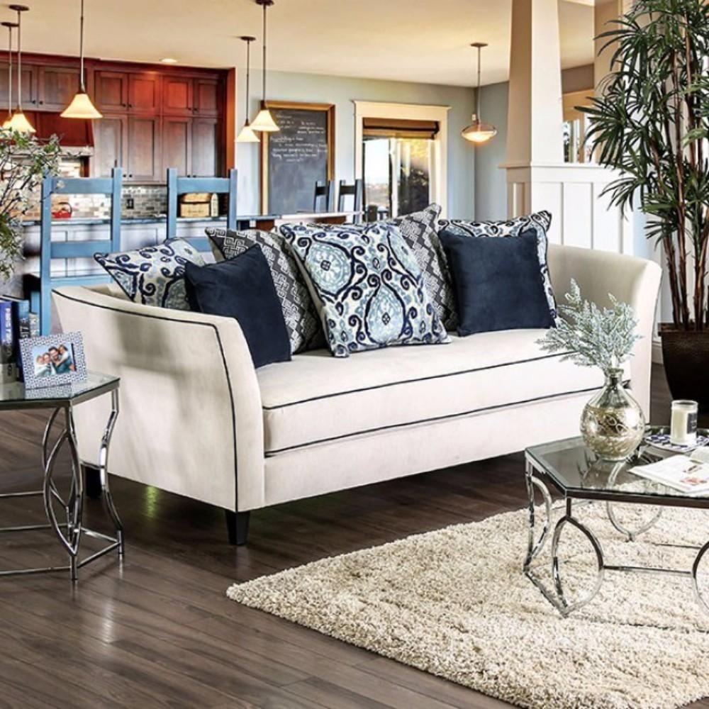 Premium Velvet Like Fabric Sofa Off White Furniture