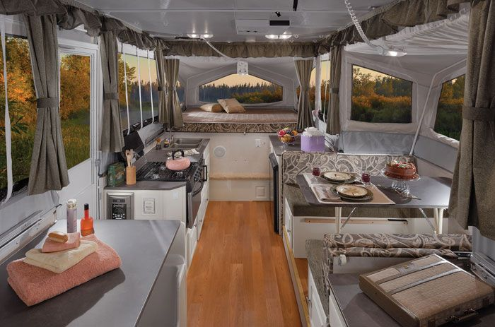 tent trailer interior inside pinterest caravane amenagement van et roulotte. Black Bedroom Furniture Sets. Home Design Ideas