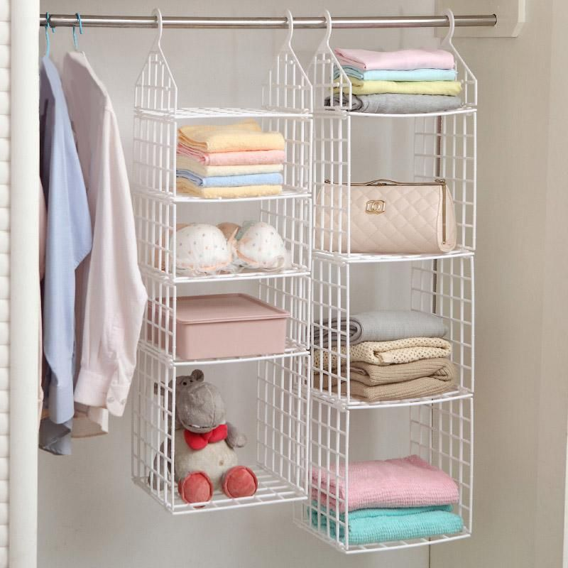 Folding Wardrobe Clothes Storage Rack Plastic Suspended Clothing Shelves Hanging Ties Storage Holder For Underwears Towels Bags Clothing Rack Bedroom Folding Wardrobe Clothes Hanger Storage