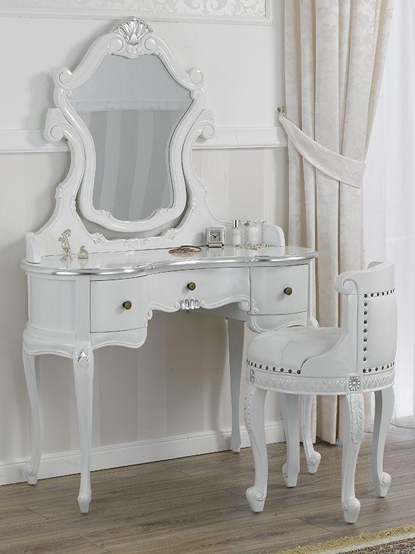 Toilette ballerina con poltrona stile Barocco Moderno bianco ...