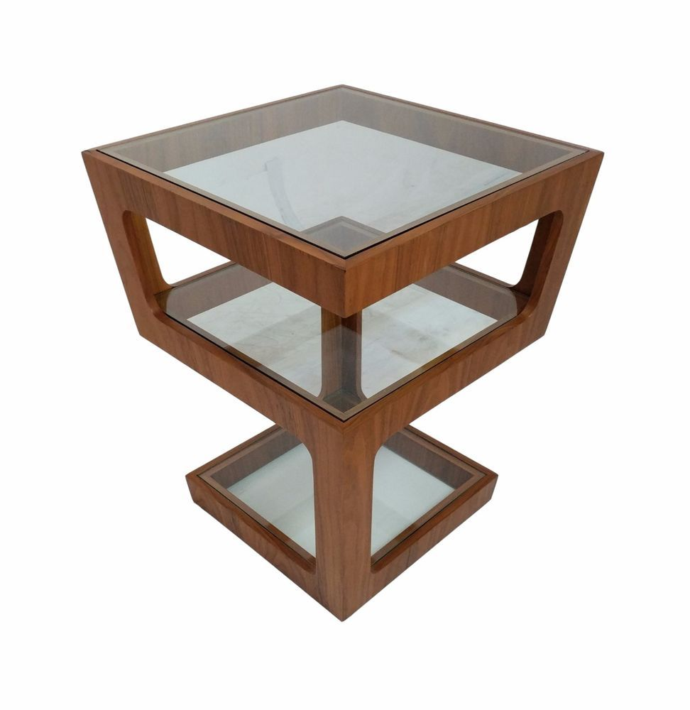 Modern glass end table  Mid Century Modern Multi level end table with retro styling and