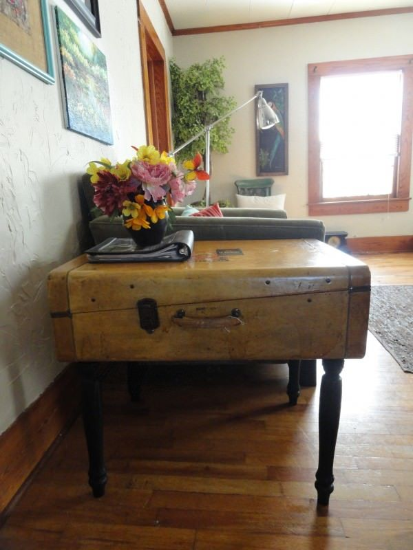 Upcycled Vintage Suitcase Into Side Table