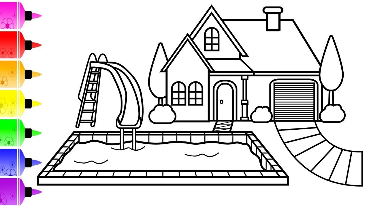 How To Draw A House With Pool Coloring Page For Kids Coloring