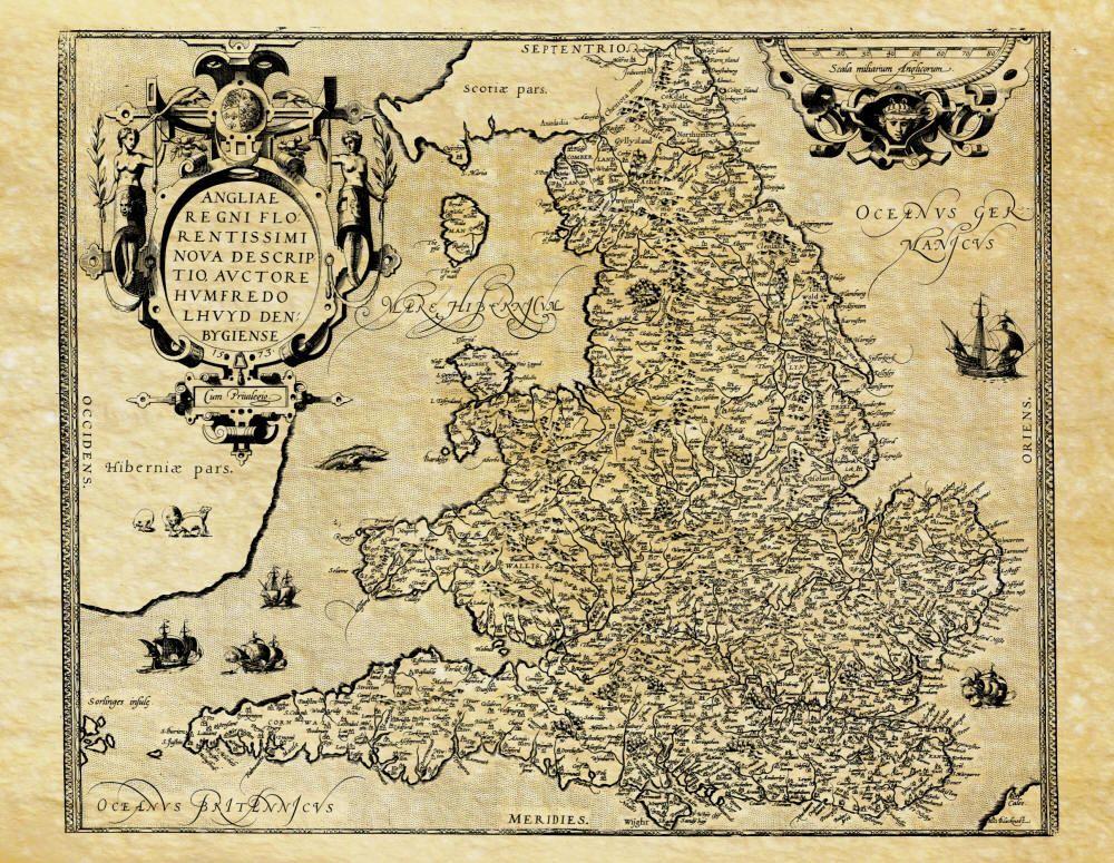 Carte ancienne de l'Angleterre en 1592, England