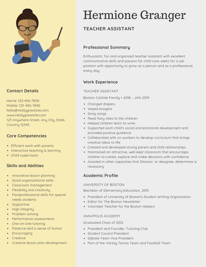 Teacher Assistant Resume Samples Templates Pdf Word 2021 Teacher Assistant Resumes Bot Teacher Assistant Teacher Resume Examples Teacher Resume Template