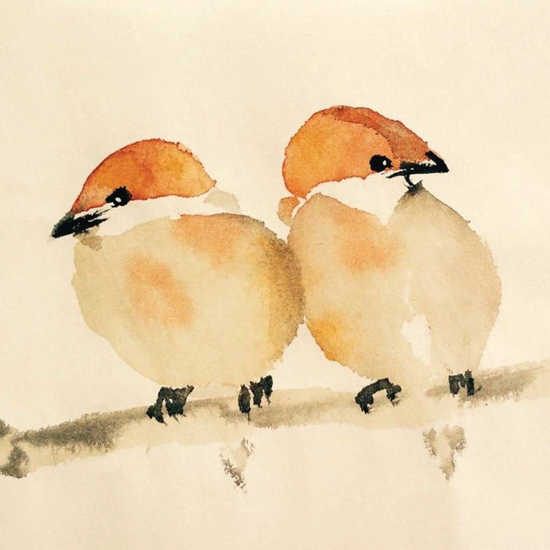 Sparrows Iii Japanese Ink And Watercolour On Paper
