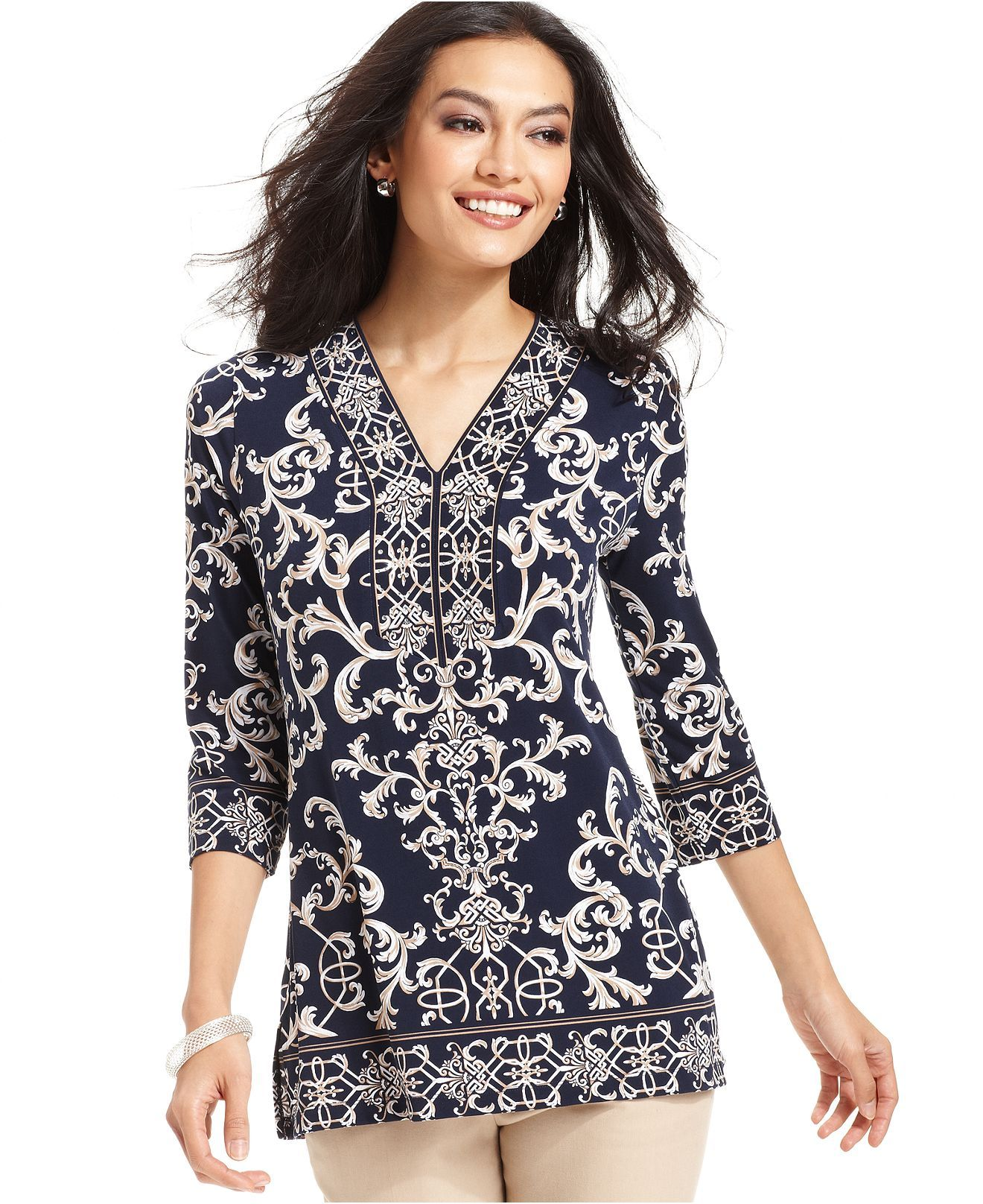JM Collection Studded Border-Print Tunic, Created for Macy