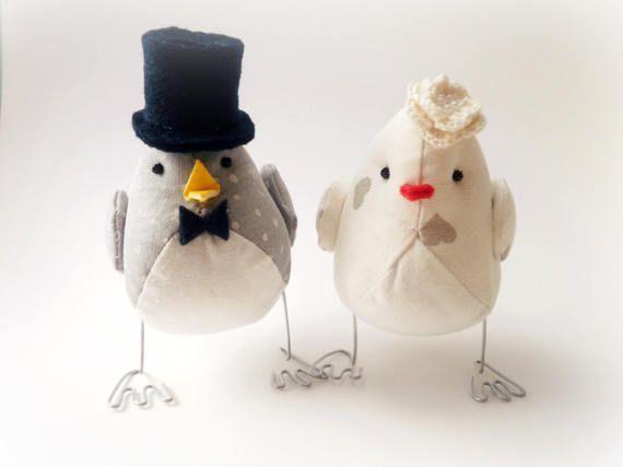 Segnaposto Matrimonio Uccelli.Decorazione Uccellini Sposi Textile Wedding Bird Cake Topper