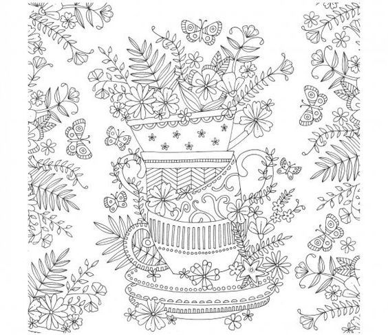 Tea cup stack colouring page