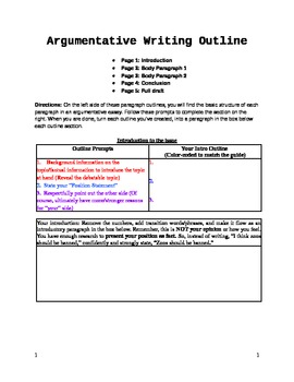 Argumentative Essay FillInTheBlank Outline Graphic Organizer