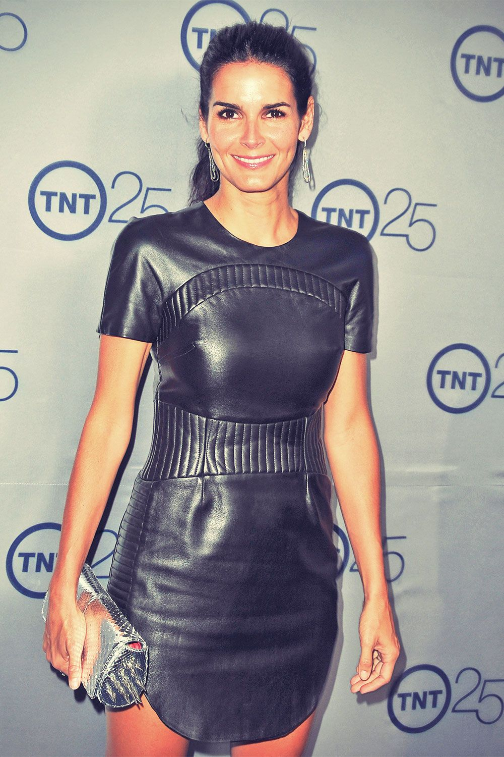 37d9ab2929 Angie Harmon arrives to TNT s 25th Anniversary Party - Leather Celebrities