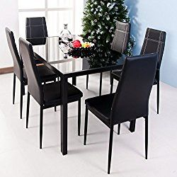 Merax 7 Piece Dining Set Glass Top Metal Table 6 Person Table And