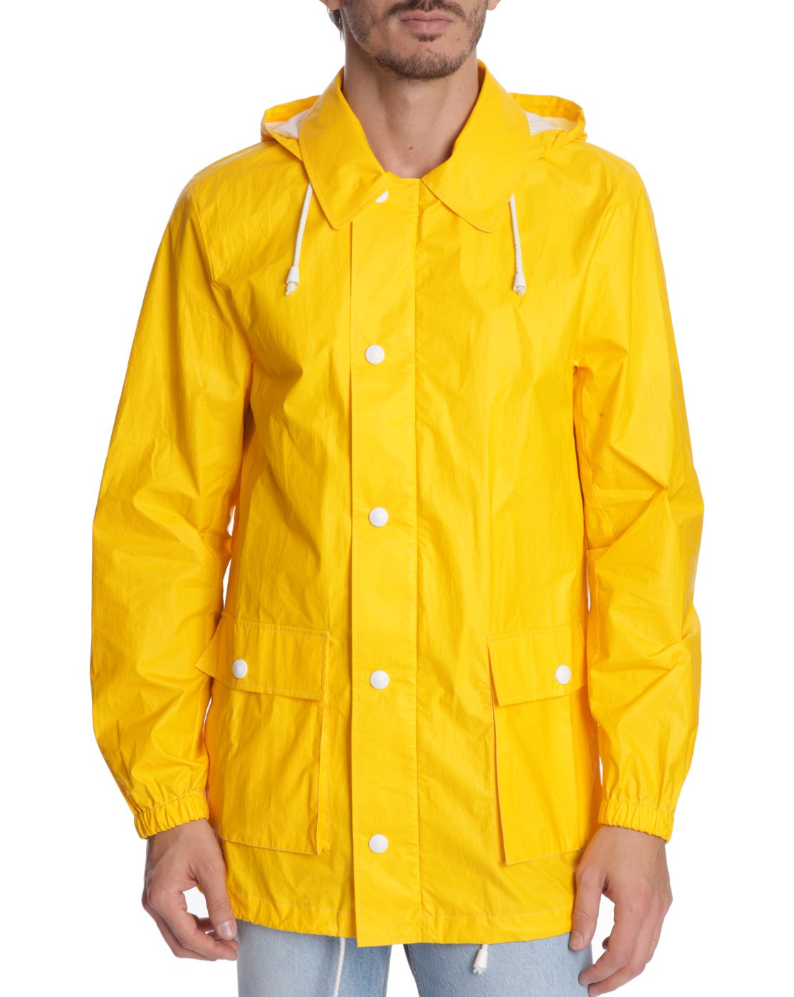 Guy in yellow raincoat