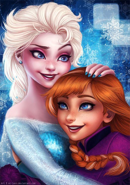 Elsa and Anna by mi-lann on DeviantArt   Disney fan art, Disney princess pictures, Frozen disney movie