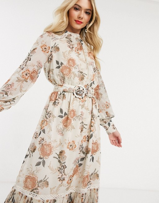 Forever New Zakardowa Sukienka Mini Z Paskiem Falbanka I Kwiatowym Wzorem Asos Maxi Dress Prom Long Sleeve Dress Dresses