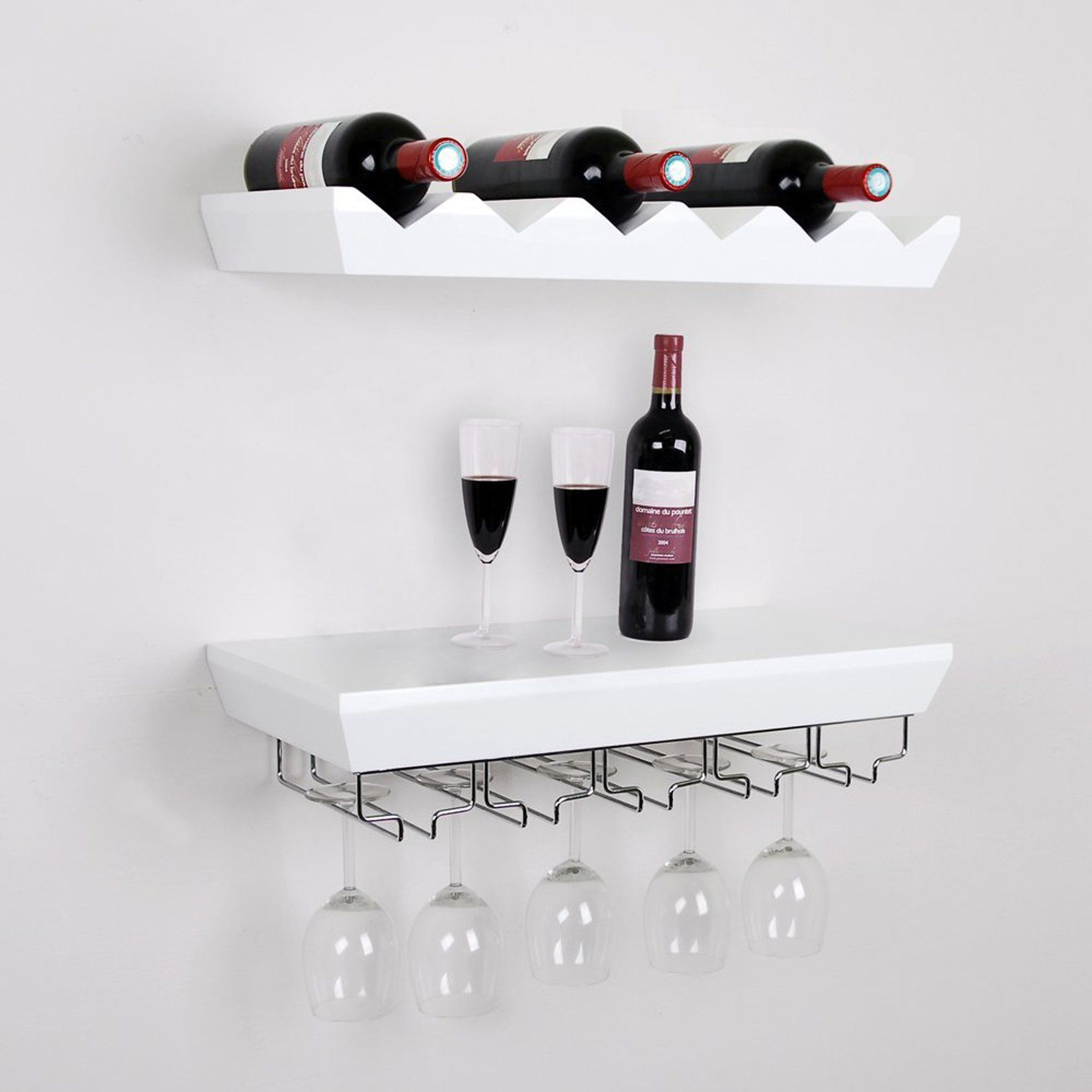 Welland White Wine Rack Floating Wall Shelf