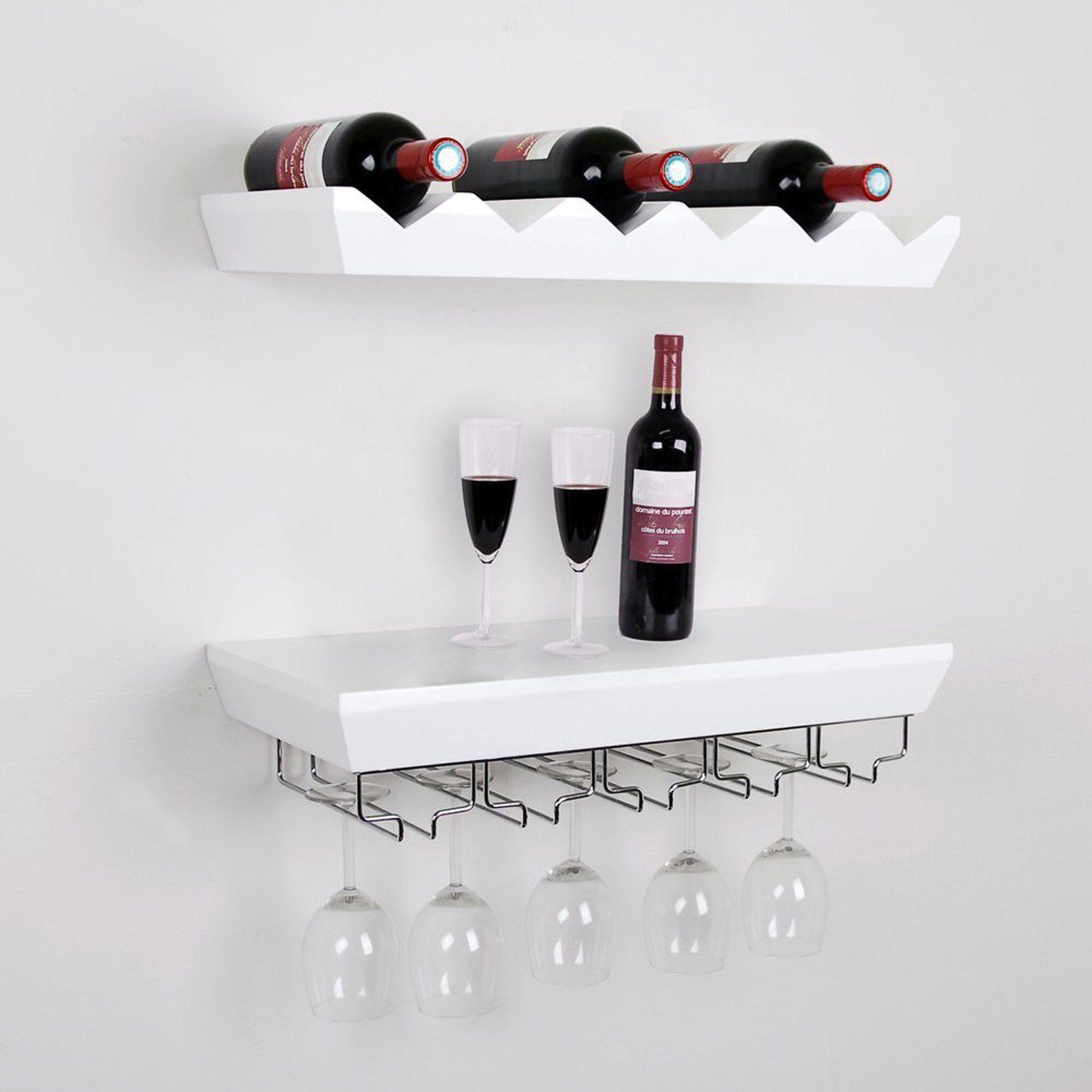 Amazon.com - Welland White Wine Rack Floating Wall Shelf ...