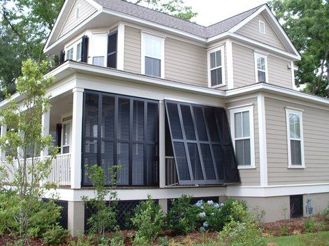 Privacy shutters porch privacy shutters charleston mt for Privacy shutters for deck