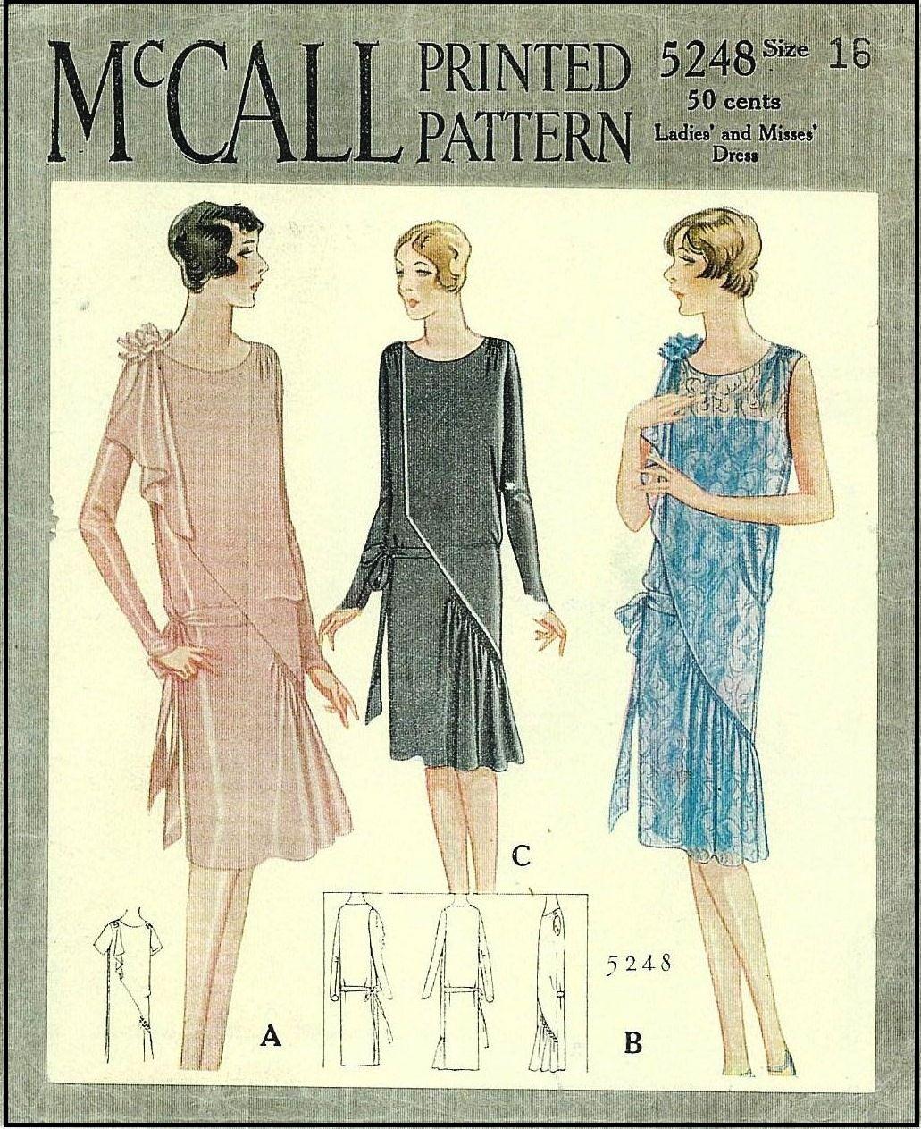 Vintage 1920s Flapper Dress Pattern ~ McCall #5248 ...