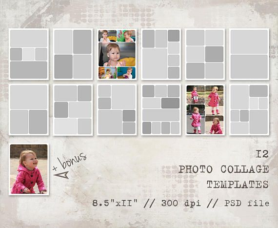 12 Storyboard Templates, 8.5X11, Rounded, Photo Collage Templates