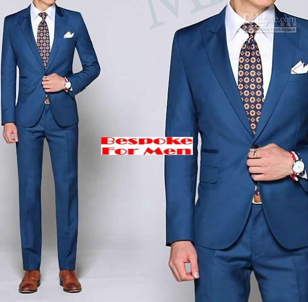 Custom made blue suits;peak lapel, 1 butons, double pocket;groom ...
